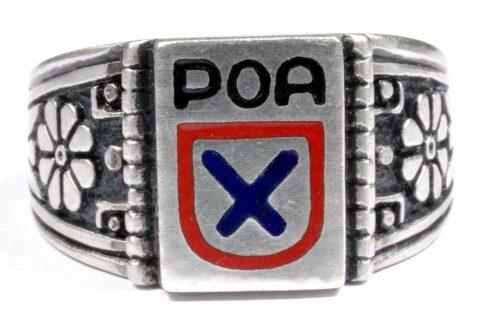 Перстень 1-ой пехотной дивизии РОА изготовлен из серебра 835-ой пробы с применением цветной горячей эмали и чернения.
