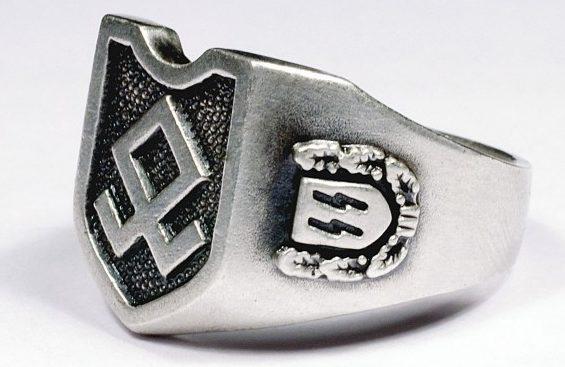 На щитке перстней рельефное изображение эмблемы 7-oй добровольческой горной дивизии СС «Принц Евгений». По сторонам щитка - руны СС. Кольца выполнены из серебра 835-ой пробы с применением чернения.