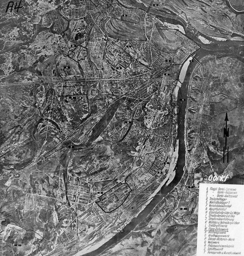 Немецкая карта Горького, с указанием целей для бомбардировок.