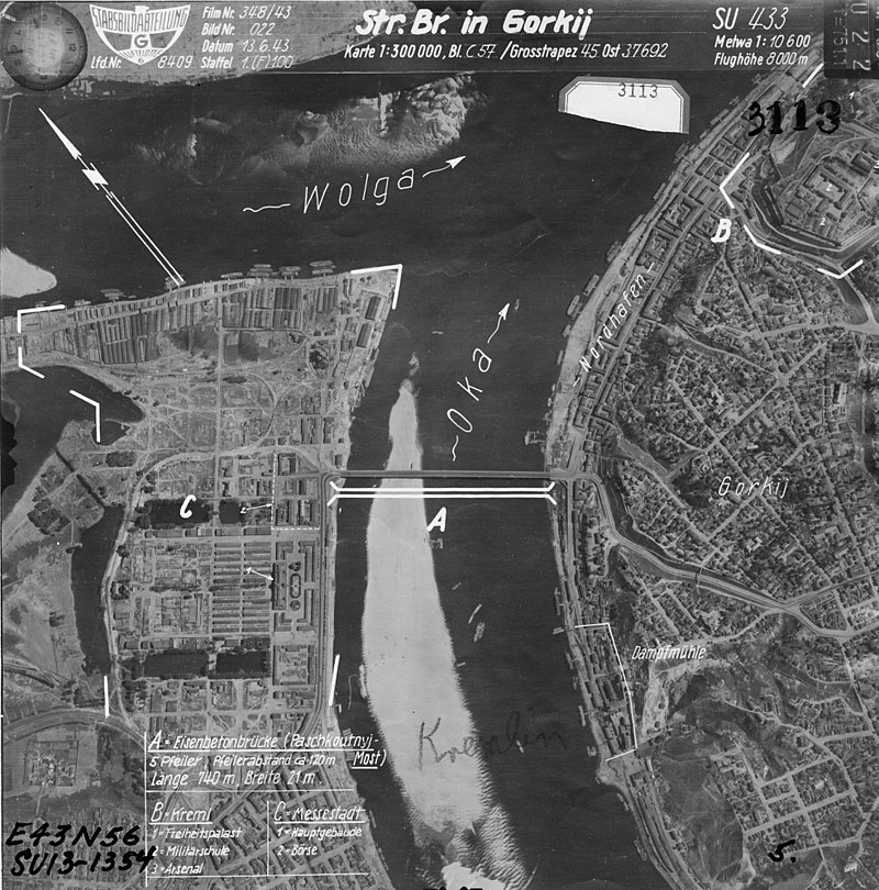 Аэрофотосъёмка Горького с указанием целей для бомбардировок.
