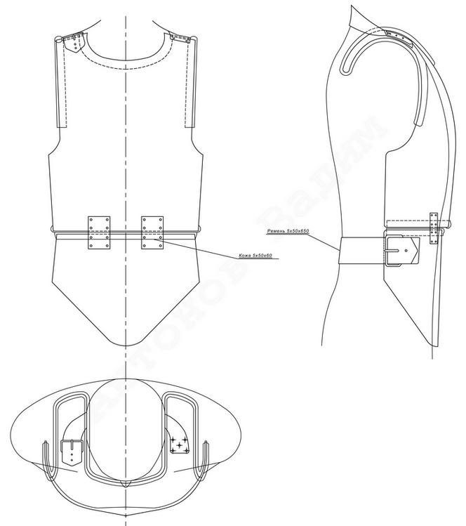 Эскиз «Броневого нагрудника» инженера И.М. Вейнблата.
