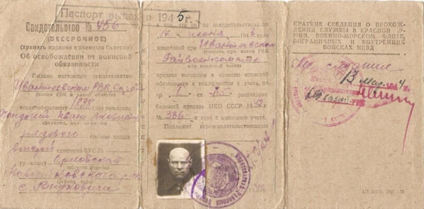 Свидетельства об освобождении от воинской обязанности (белый билет).