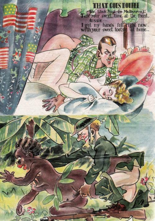 Бедному австралийцу в джунглях по части личной жизни приходится довольствоваться чем придется. А в это время американец у него дома развлекается с его женой.