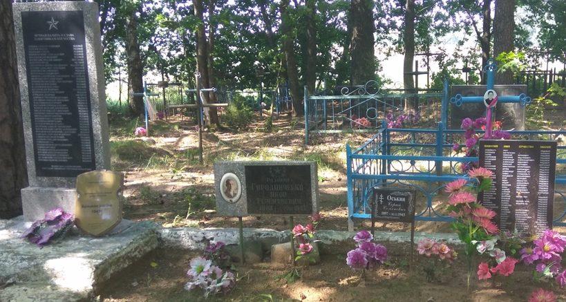 д. Иванищевичи Славгородского р-на. Памятник, установленный на братской могиле, воинов, погибших в годы войны.
