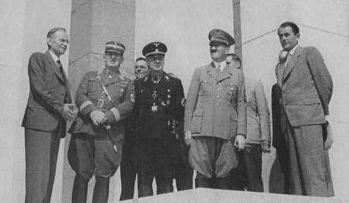 Альберт Шпеер, Иоахим Риббентроп, Гитлер. Нюрнберг. 1937 г.