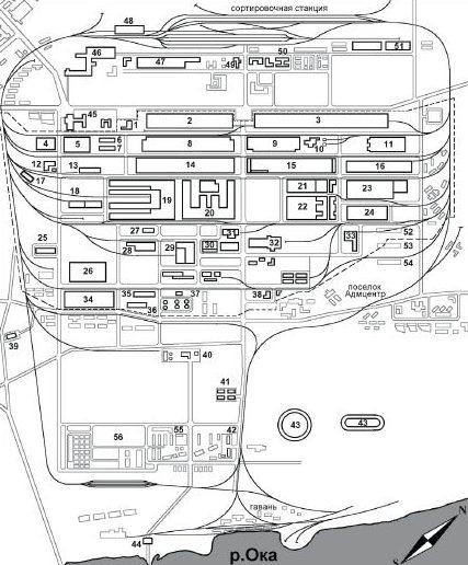 Схема расположения цехов ГАЗа.