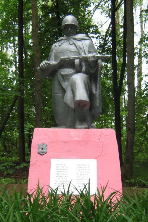 д. Сластены Дрибинского р-на. Памятник, установленный на братской могиле, в которой похоронено 22 советских воинов.