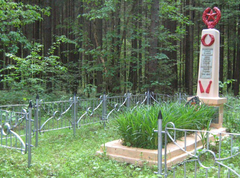 д. Темный Лес Дрибинского р-на. Памятник, установленный на братской могиле, в которой похоронено 35 советских воинов.