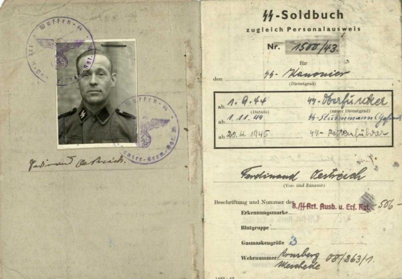 Солдатские книжки военнослужащих подразделений СС.