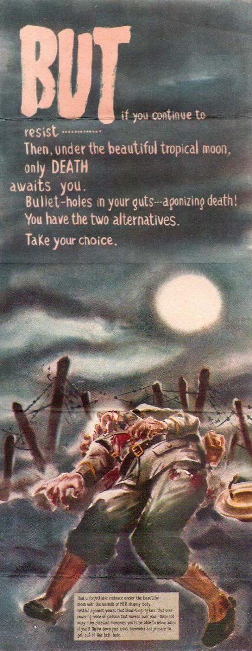 Но ... если ты продолжишь сопротивление, то здесь под прекрасной тропической луной, тебя ждет только смерть. Пулевое ранение в кишки - мучительная агония. У тебя есть две альтернативы. Сделай свой выбор.