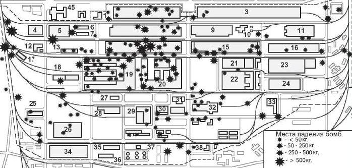 Схема падения авиабомб на территории ГАЗа в ходе налета в ночь с 4 на 5 июня 1943 г.