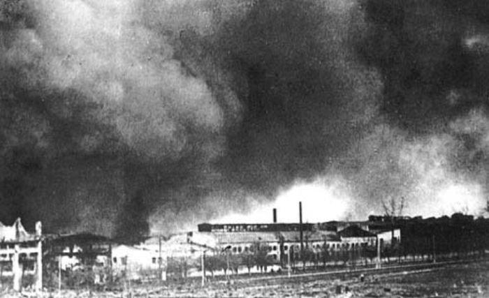 Пожар в цехах автозавода. Ноябрь 1941 г.