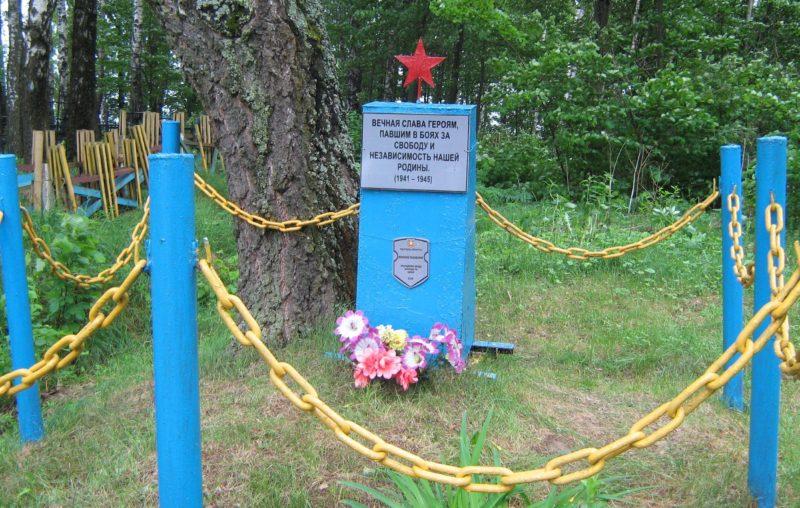 д. Тиньковщина Дрибинского р-на. Памятник, установленный на братской могиле, в которой похоронено 2 советских воина.