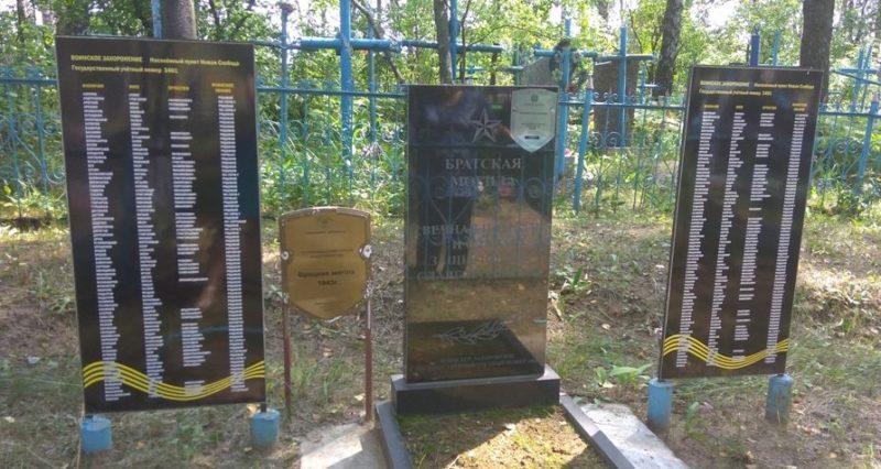 д. Новая Слобода Славгородского р-на. Памятник, установленный на братской могиле, воинов, погибших в 1943 году.
