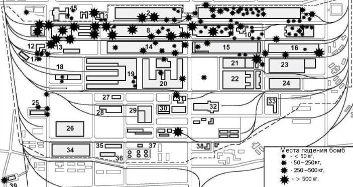 Схема падения авиабомб на территории ГАЗа в ходе налета в ночь с 6 на 7 июня 1943 г.