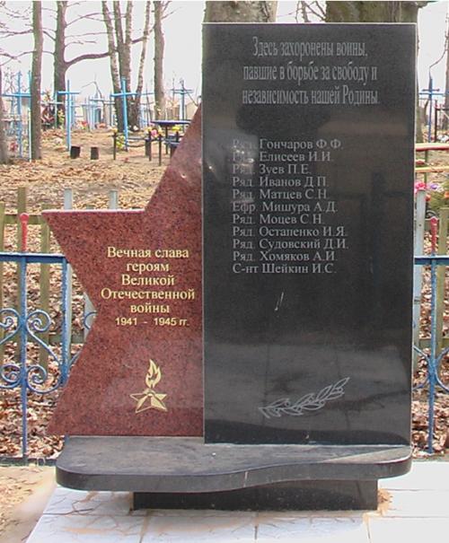 д. Запрудье Могилевского р-на. Братская могила, в которой похоронено 27 воинов, в т.ч. 8 неизвестных.
