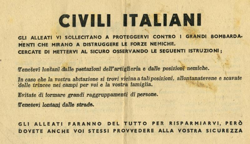 Предупреждение итальянским гражданам.