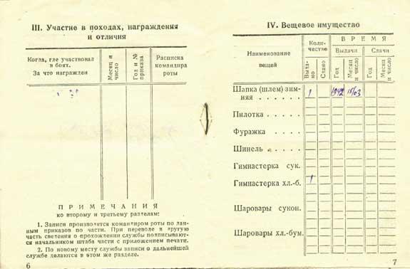 Книжка красноармейца с разворотами. 1942 г.