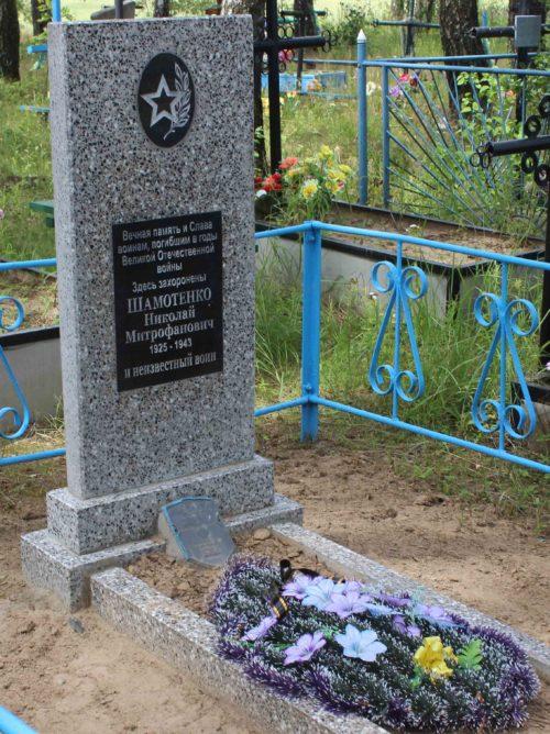 д. Вербеж Чериковского р-на. Памятник, установленный на братской могиле, в которой похоронено 2 советских воина, погибших в 1941 г.
