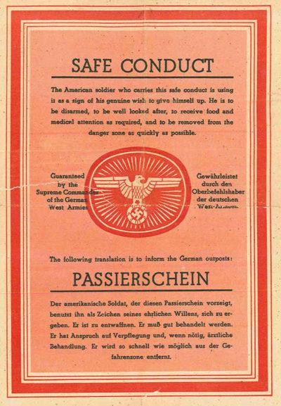 Одна из немецких листовок пропуск-пародия, изготовленная для союзников.