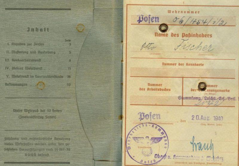 Военный билет Отто Фишера, 1906 года рождения.