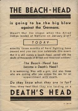 Голова пляжа – голова смерти. Листовка рассказывает о потерях при высадке десантов в Италии.