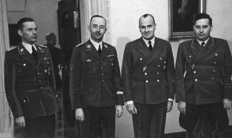 Фридрих Крюгер, Генрих Гиммлер, Ганс Франк и Йозеф Бюлер. 1942 г.
