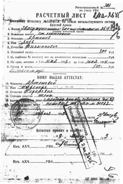Расчетный лист к денежному аттестату офицера образца 1942 г.