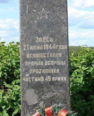 д. Будино Чаусского р-на. Памятный знак 49-й армии.