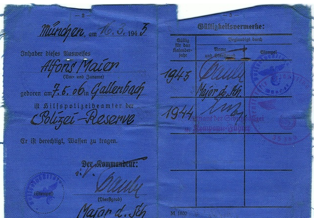 Удостоверение сотрудника шутцполиции Альфонса Майера.