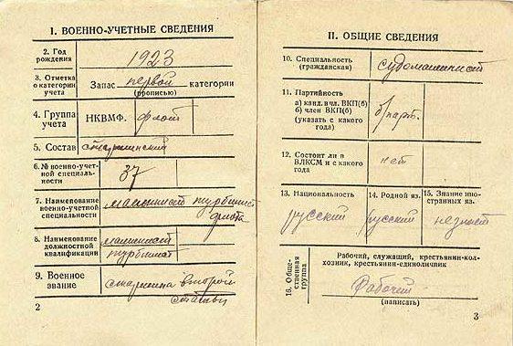 Военный билет краснофлотца.