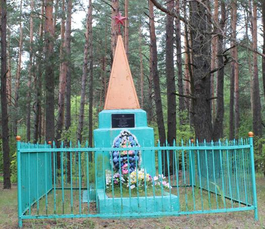 д. Ушаки Чериковского р-на. Памятник на братской могиле, в которой похоронено 12 советских воинов, в т.ч. 5 неизвестных, погибших в 1943 году.