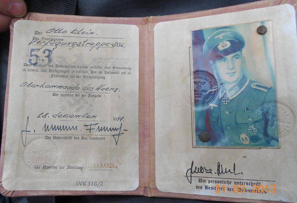 Удостоверение офицера Абвер.