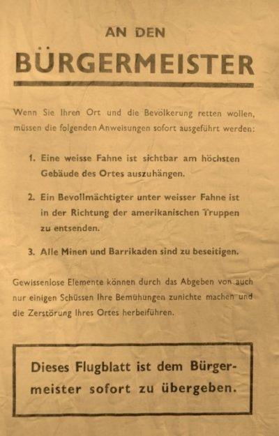 Прокламация американской армии с инструкцией к мэру.