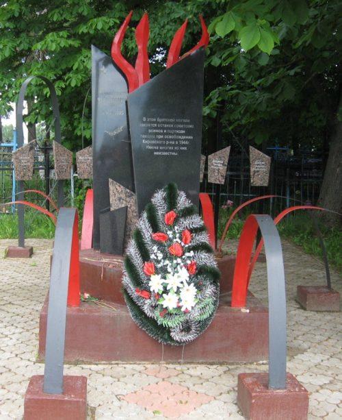 д. Мышковичи Кировского р-на. Памятник, установленный на братской могиле, в которой похоронено 8 советских воинов, погибших в годы войны.
