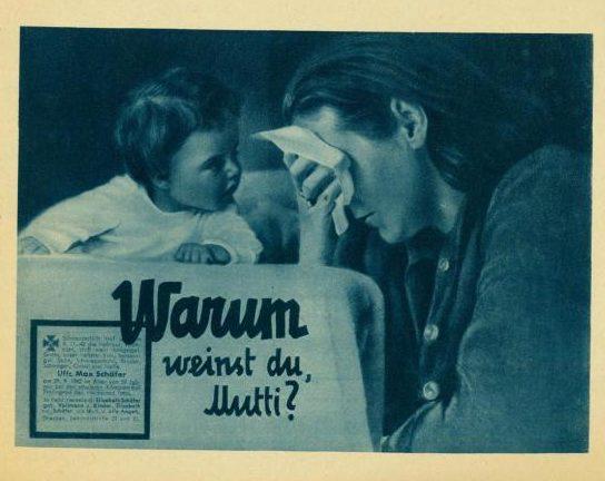 Почему ты плачешь, мама? (рядом с вопросом - изображение немецкой «похоронки».