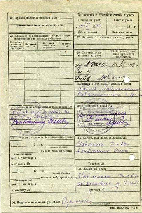 Учетная карточка военнообязанного.