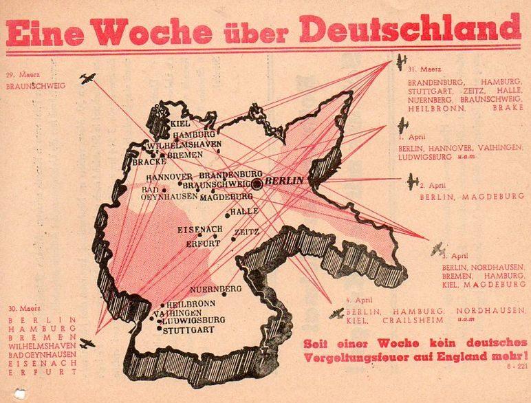 Листовка показывает маршруты налетов союзников через неделю.