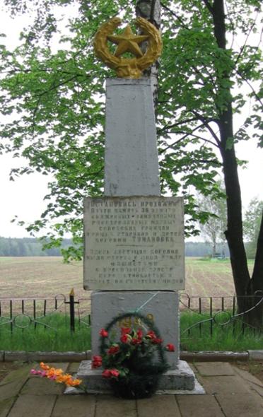 д. Тумановка Могилевского р-на. Братская могила, в которой похоронено 38 воинов.