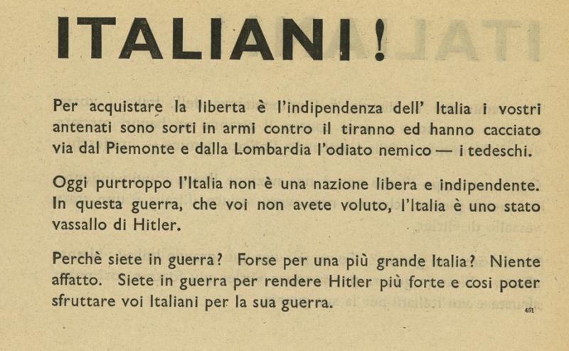 Чтобы обрести свободу и независимость Италии …