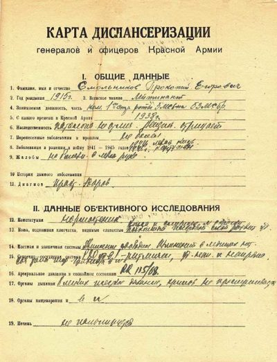 Карта диспансеризации генералов и офицеров Красной Армии.