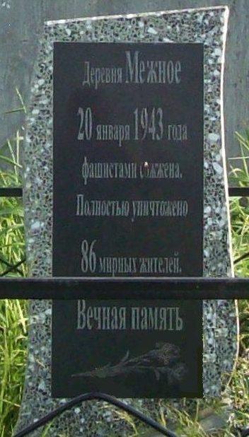 д. Межное Осиповичского р-на. Памятник был установлен в 1983 году на братской могиле, в которой похоронено 86 мирных жителей, сожженных 20 января 1943 года.