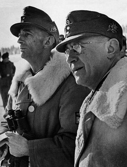 Эдуард Дитль и Карл Бергер. Финляндия. 1943 г.