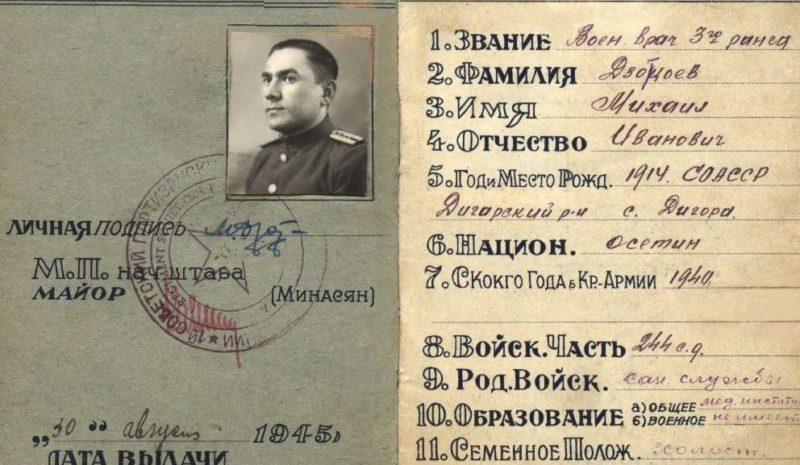 Удостоверение личности военврача.