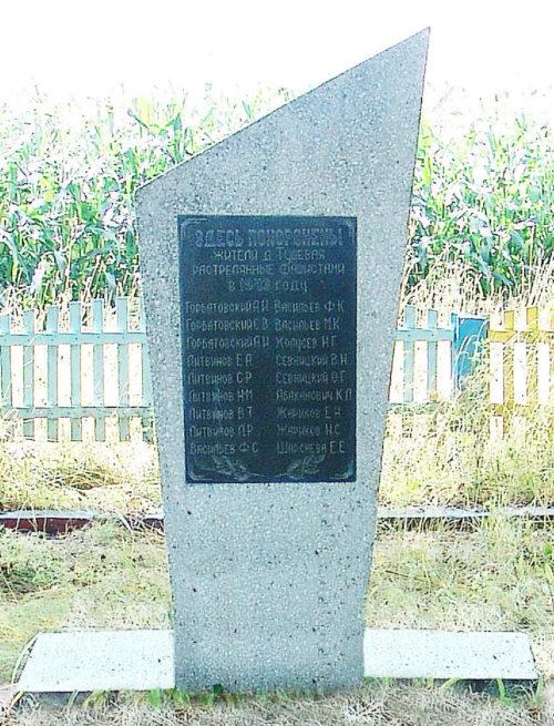 д. Тушевая Горецкого р-на. Памятник, установленный на братской могиле, в которой похоронено 18 советских воинов.