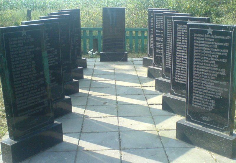 д. Осовок Осиповичского р-на. Памятник установлен в 2005 году на братской могиле, в которой похоронено 228 мирных жителей, расстрелянных и сожженных в деревни 8 января 1943 года.