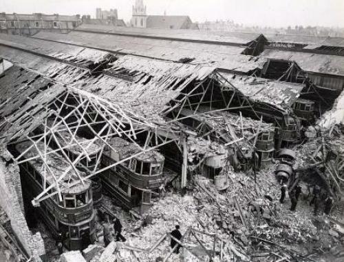 Разрушенное трамвайное депо. 1940 г.