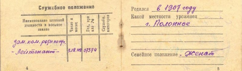 Удостоверение личности лейтенанта Орловского военного округа.