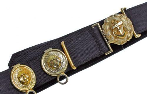 Ремень и золотистая пряжка офицера Кригсмарине, диаметром 40 мм с подвесом для кортика.