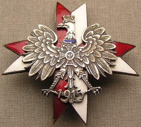 Аверс и реверс полкового знака 1-го Креховецкого уланского полка им. полковника Болеслава Мощчицкого.